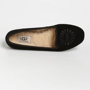 Ugg Alloway Black Suede Slippers size 6